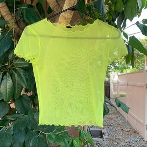 Urban outfitters sheer mesh lime green top!